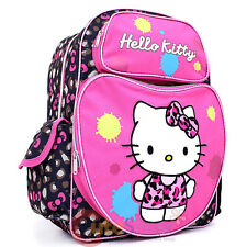 """Sanrio Hello Kitty Large School Backpack: 16"""" Pink Book Bag -Leopard Pink Bow"""