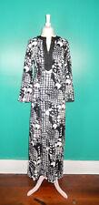 New listing Vintage 60'S 70'S Mod Black White Graphic Print Asian Style Long Caftan Dress M