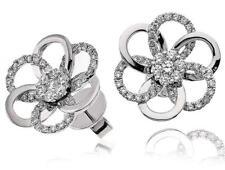 Diamond Daisy Earrings 0.75ct F VS in 18ct White Gold