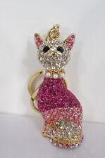 New Gold Fashion Metal Key Chain Wallet Handbag Charm Cat Pink Silver Kitty Gift