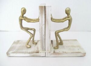New Handcrafted in India CAST IRON METAL and WOOD FIGURAL MEN BOOK ENDS ~ New