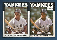 (2) 1986 TOPPS & O-PEE-CHEE YANKEES RICKEY HENDERSON CARD LOT