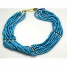 Turquoise Necklace 9 Strands Genuine Arizona Turquoise with Sterling Silver Spac