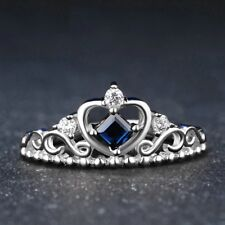 Royal Princess Crown Diamond Blue Sapphire Engagement Ring 14k White Gold Over