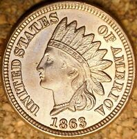 1863 Indian Head Cent - GORGEOUS MS++++ RB OUTSTANDING RAW LUSTER  (K945)