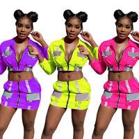Fashion New Women Long Sleeves Zipper Patchwork Bodycon Mini Dress 2pcs Clubwear