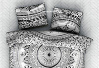 2 Stück Indisch Schwarz & Weiß Ombre Mandala Kissenbezug Bodenkissen