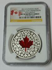 2013 Canada NGC PF70 Ultra Cameo Colorized Maple Leaf Impression $20