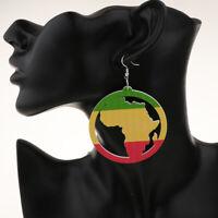 Cute&Stylish Earrings Wooden Circle African Map Lady Engrave Women Earring