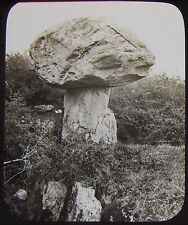 Glass Magic Lantern Slide STONE MUSHROOM C1900 GEOLOGY PHOTO