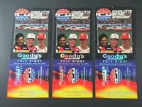 VTG 1993 Charlotte GOODYS POLE NIGHT Nascar 3 Ticket Stubs Auto Race Memorabilia
