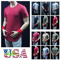 Mens T-Shirt Long Extended Casual Hip Hop Crew Neck Fashion Casual Tee Zipper