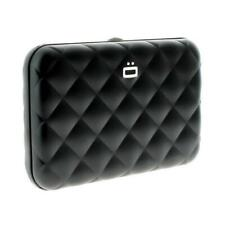 Ögon Quilted Button Aluminium Wallet Card Holder RFID Protection Black New