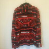 OBEY Worldwide Mens Large Shirt Long Sleeve Button Down Flannel Red White Black