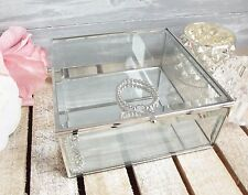Vintage Modern Glass & Mirror Antique Silver Jewellery Box Jewelry Display 17cm