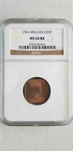 Malaya 1 Cent 1961 NGC MS 64 RB