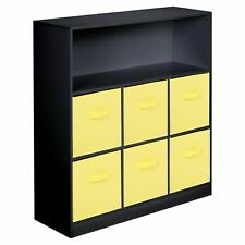Wooden Black Wide 7 Cubed Cupboard Storage Unit Shelves 6 Yellow Drawers Baskets