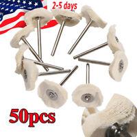 50x White Cloth Cotton Pad Polishing Shank Wheel Rotary Tool Dental Lab Jewelry