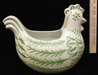 "Chicken Hen Pot Planter Vase Ceramic Rooster Farm 11"" Tan Green Speckled"