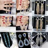 Luxury Geometric Crystal Drop Earrings Dangle Earrings For Women Wedding Party