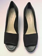 Ellen Tracy Wms Black Leather Slide Wedge Open Toe Heels Rhyme size 10M