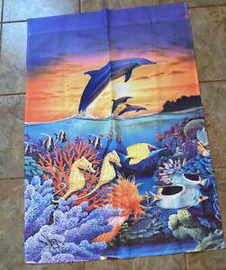"Dolphins Sea Horses  Fish Ocean Life Large House Garden Flag 28x38"" Double Sided"