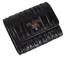 New Prada 1MH840 Black Gaufre Ruched Leather Trifold Wallet W/Coin Pocket