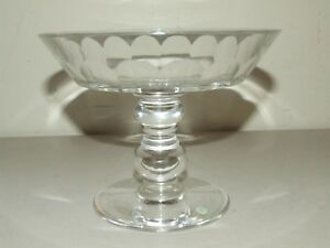 "Tiffany Heavy Clear Glass Crystal Bowl with Etched Signature ""Val Saint Lambert"""