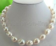 "HUGE 18"" 9-10MM WHITE BAROQUE FRESHWATER PEARL NECKLACE SILVER"
