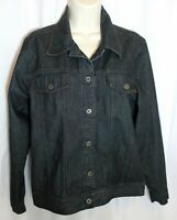 Denim & Co Jeans Jacket Womens Size S / M Trucker Style Dark Wash Blue Denim