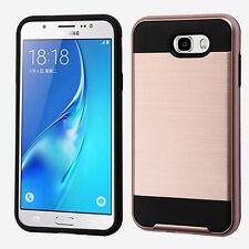 For Samsung Galaxy J7 Perx J7V J727 Brushed Metal HYBRID Rubber Case Phone Cover