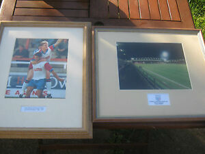 RUSHDEN & DIAMONDS  2 FRAMED PICTURES OF CLUB PLAYERS & GROUND BOTH EXCELLENT