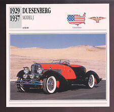 1929-1937 Duesenberg Model J Figoni French Speedster Car Photo Spec Sheet CARD