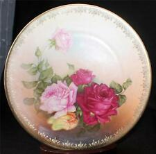 """Vintage Signed BAVARIA Germany Hand Painted Gold Decor ROSES 8 3/4"""" Plate"""