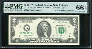 2017-A $2 Federal Reserve Note Fancy QUAD RADAR Serial #G07555570A PMG 66EPQ