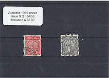 1935 Australian ANZAC Stamps Commemoration Issue. Fine Used. S.G. 154/55