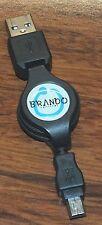 Brando Workshop Black Plastic Retractable SyncCharger Cable (Miniature USB)