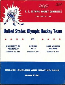 US Olympic Hockey Team 1956 Minnesota Regina Fort William test Official Program