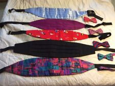 Vintage Lot of 4 Clip Bow ties with 5 Cummerbunds Mixed Variety 1990s