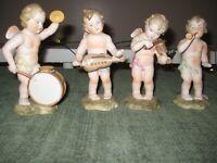 "Occupied Japan Set Of 4 Ardalt Lenwile Bisque Porcelain Cherubs Playing Music 6"""