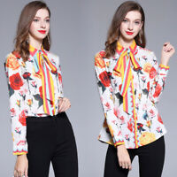 2019 Spring Summer Fall Floral Print Tie Neck Women Long Sleeve Shirt Top Blouse