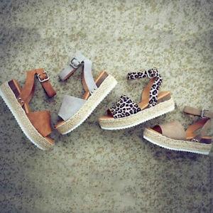 Spanish Espadrilles Wedge Platform Ankle Strap Ladies Sandals Shoes for Summer