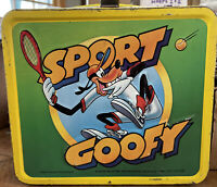 1983 Aladdin 3-D Sport Goofy Metal Lunch Box W/Thermos No Stopper
