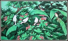 """Original Balinese Painting """"Starlings & Sparrows Together"""" (31.5""""Hide x 53""""Wide)"""