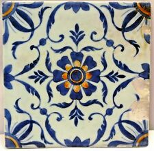 VINTAGE TILE CHINESE BLUE WHITE CERAMIC  PORCELAIN FLOWER DESIGN COLLECTIBLES