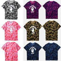 Bape A Bathing Ape Head Camouflage Round Collar Cotton Short Sleeve T-shirts