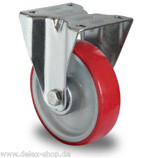 Transportgeräterolle Polyurethanbereifung 160 mm Platte Bockrolle Rad Rolle