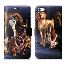 for Apple iPhone 6 6s PU Leather Wallet Book Flip Phone Luxury Pouch Case Cover Dog Family - Many Dogs Group Lots Friends Wildlife