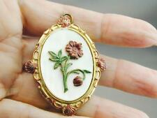 Large Vintage Locket Gilt Gold Mother Of Pearl Sea Shells Flowers W/Photo NR