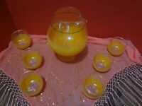 BLENDO Style Orange Frosted Cocktail Pitcher w/6 Roly Poly Glasses Vtg~FAST S/H